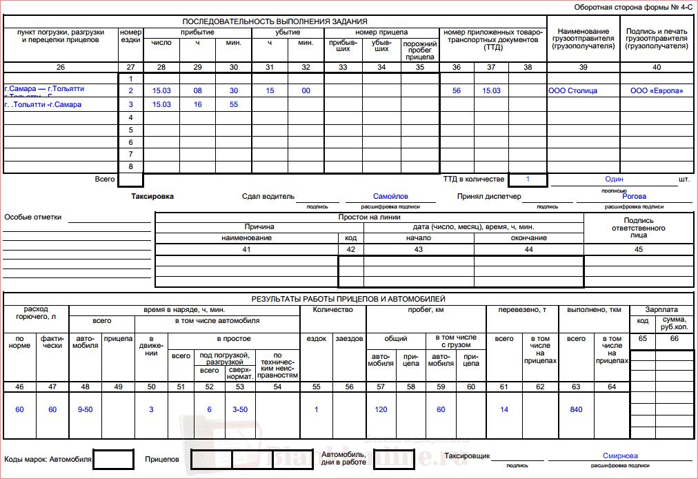 Образец заполнения путевого листа по форме 4-С